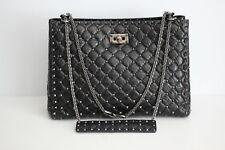 Valentino Garavani Quilted Rockstud Spike Leather Tote Bag - Black