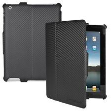 Black Carbon Fiber Folio Case for iPad 2nd, 3rd, 4th Gen