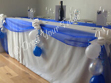 Wedding Reception Top Table Decoration Pack - Organza, Bows & Balloons