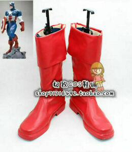Captain America The First Avenger Steve Rogers Cosplay Shoes Boots!cos