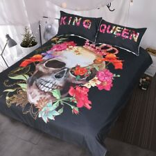 BlessLiving Crowned Floral Skull Duvet Cover Sugar Skull Bedding King and Queen