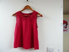 TOP SHOP polyester stretchy lacy deep red vest/tank/ top size 8 petite