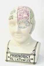Phrenology Head Ornament Ceramic Cream Statue Vintage style Crackle Glazed fi...