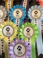 5 x 1 Tier Paw Print Well Done Rosettes**FREE 1st CLASS POST**