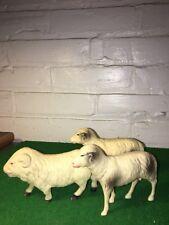 Vintage Celluloid Sheep Christmas Putz Village Set Of Three Sheep 1950'S