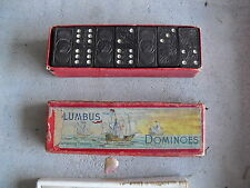 Set of Vintage Columbus Wood Dominoes in Box LOOK