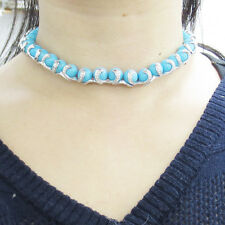 Estate 3.0ct Diamond & Natural Turquoise 18K Gold Necklace & Bracelet Set
