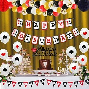 Casino Theme Party Decorations, Birthday Supplies Kit, Happy Banner, Garland