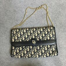 Christian Dior Vintage Trotter Monogram Canvas And Leather Chain Clutch Bag