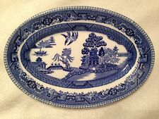 Antique BUFFALO CHINA Blue Willow Oval Trinket Or Serving Dish Bowl