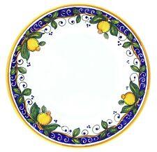 """Italian Blue Yellow Lemon Majolica Plat du Jour Large Dinner Plate 11.5"""""""