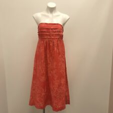 Banana Republic Womens Size 8 NWT W FLAW Strapless Linen Fall Printed Dress