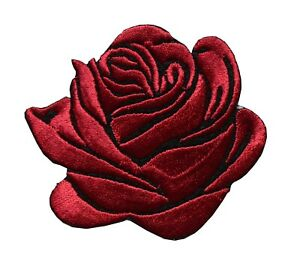 """#5172  2 3/4"""" Rose Flower Embroidery Iron On Applique Patch"""
