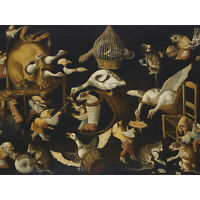 Master Egg Grotesque Animals Cats Birds Painting XL Canvas Art Print