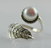 Freshwater Pearl 925 Solid Sterling Silver Handmade Leaf Ring Size F - Z 1/2 UK