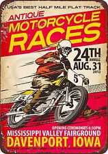 Antique Motorcycle Races Reproduction metal Sign 8 x 12