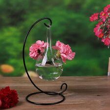 1Pc Clear Flower Wall Hanging Glass Vase Planter Terrarium Hydroponic Bottle FR