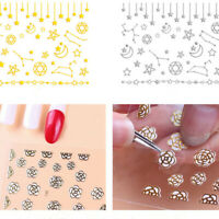 3D Nail Stickers Colorful Star Moon Sun Pattern Nail Art Transfer Decals Decor