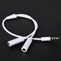 3.5mm AUX Audio Mic Splitter Cable Earphone Headphone Adapter Male To Female FT