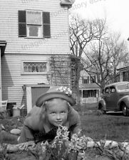 8x10 Print Historic Child Little Girl Auto in View Fine Photography 1940's #108