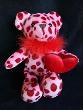"VALENTINE TEDDY BEAR 10"" Plush Red Animal Print Feather Boa Playful Hearts"