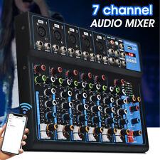 7 Kanal Pro bluetooth Live Audio Konsole Sound Mischpult LED DJ Konsole Mic DE