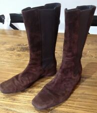 FILIPPO RAPHAEL chocolate brown suede leather knee high boots sz 38.5, near new!