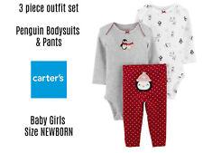 3 pc set Carters Baby Girls NEWBORN Winter Holiday Red...