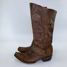 Old Gringo Womens Cowboy Boots Brown Leather Studded Cross Square Toe Strap 7 B