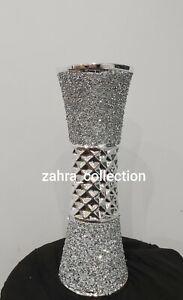 Crushed Crystal Diamond Silver Romany Bling Ceramic Vase L NEW