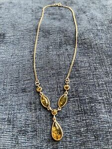Sterling Silver Green Amber Drop Necklace