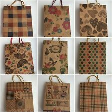 2 Brown Gift Carrier Bags Strong Paper Bags Handles Floral Stripe Party Handmade