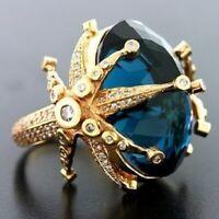 Charm Women 18K Yellow Gold Filled Blue Topaz  CZ Stars Wedding Engagement Ring