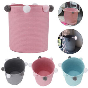 Toy Hamper Pompom Laundry Washing Clothes Storage Basket Bin Foldable Convenient