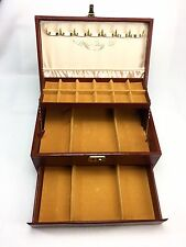 VTG Antique Jewelry Box Mele Brown Leather 3 Tier Auto Drawer Necklace Hook