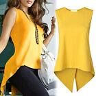 UK femmes en vrac décontracté jaune haut court sans manche t shirt chemisier
