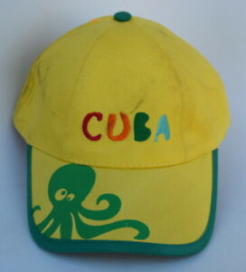 Cuba with Octopus Picture KIDS Baseball Cap Hat Adjustable Strapback Yellow