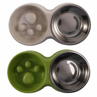 Stainless Steel Dog Pet Double Bowls Plastic Slow Food Bowls Feeding and Dr W5B6