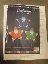 Craftways Magical Santa Ornaments, Set of 6, Santa Stars-Cross Stitch Kit
