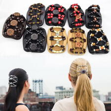 Butterfly Wood Beads Double Hair Comb Clip Stretchy Women Hair Accessories