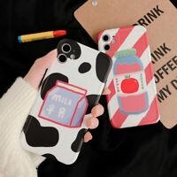 Cute Milk Apple Juice Drink Phone Case Cover For Apple iPhone11Pro 7 8Plus XR XS