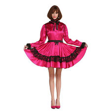 Sissy Maid Long Sleeve Rose Red Dress Cosplay Crossdresser Outfits Plus Size