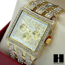MEN GENEVA LUXURY HIP HOP ICED OUT GOLD FINISHED LAB DIAMOND RAPPER WATCH WW02