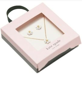 $78 Kate Spade Flower Stud Earrings & Necklace Into The Bloom White Daisy A1-1