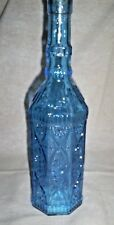 "One 12"" Tall 8 Sided Glass Bottle w/Cork in Capri Blue w/Beautiful Raised Design"