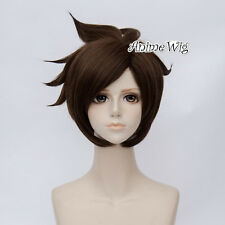 Dark Brown Anime For 30cm Overwatch OW Tracer Cosplay Heat Resistant Layered Wig
