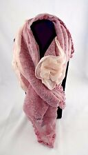 Pink gray scarf wrap sweater lace fabric rose ruffle