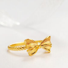 Authentic 24k Yellow Gold Bow Ring -Ring size: 8.5