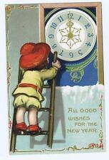 All good wishes for the New Year, child on ladder, clock at midnight, Tuck's #47