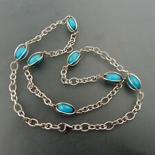 """LOVELY STERLING SILVER AND TURQUOISE STATEMENT NECKLACE PENDANT 24"""" LONG"""